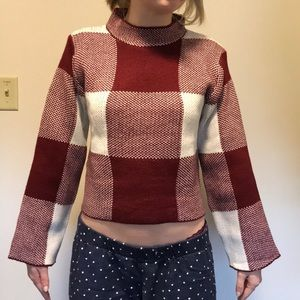 High Neck Gingham Crop Sweater NWT